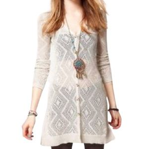 Free People Crochet Duster Cardigan Ivory Small